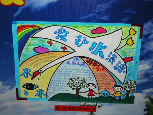 节约水绘画作品 - 节约水手绘海报